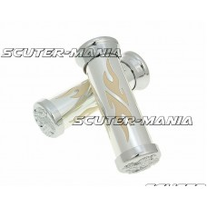 handlebar grip set Custom Flame chrome white