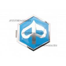 Emblema Piaggio plata hexagonala 32x37mm albastra / argintie