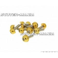 Set suruburi priza hexagonala - cap surub aluminiu anodizat auriu - 12 buc - M6x20